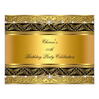 Negro elegante del diamante del oro de la fiesta invitacion personalizada