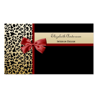 Negro elegante del diseño interior y leopardo del tarjetas de visita