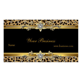 Negro elegante del leopardo del oro elegante tarjetas de visita