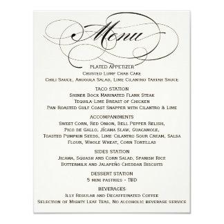 """Negro elegante del menú de la escritura/del blanco invitación 4.25"""" x 5.5"""""""