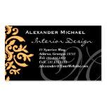 Negro elegante del monograma y damasco del oro plantilla de tarjeta personal