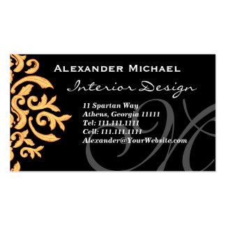 Negro elegante del monograma y damasco del oro tarjetas de visita
