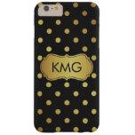 Negro elegante del monograma y lunares del oro funda de iPhone 6 plus barely there