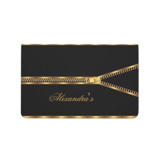 Negro elegante del oro de la cremallera femenino cuadernos grapados