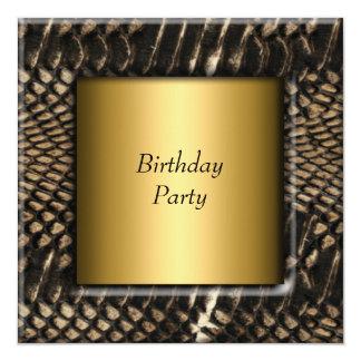 """Negro elegante del oro de la fiesta de cumpleaños invitación 5.25"""" x 5.25"""""""