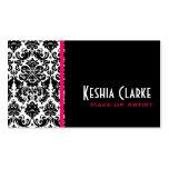 Negro elegante del rosa de las tarjetas de visita
