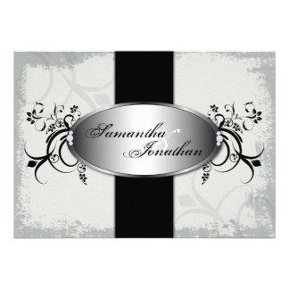 Negro elegante del vintage de la invitación del bo