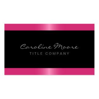 Negro elegante elegante de la frontera del rosa tarjetas de visita