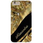 Negro elegante elegante personalizado y oro bling funda de iPhone 6 plus barely there