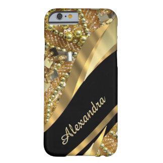 Negro elegante elegante personalizado y oro bling funda de iPhone 6 barely there