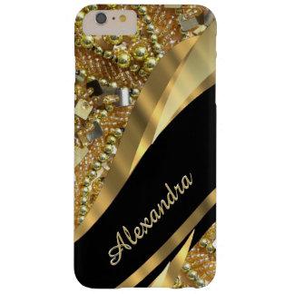 Negro elegante elegante personalizado y oro bling funda barely there iPhone 6 plus