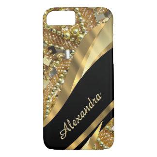 Negro elegante elegante personalizado y oro bling funda iPhone 7