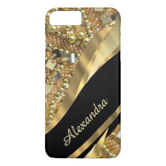 Negro elegante elegante personalizado y oro bling funda iPhone 7 plus