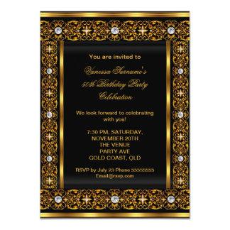 Negro elegante estupendo 3 del oro del diamante 50 invitacion personalizada
