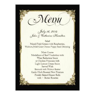 Negro elegante marfil y menú de encargo del boda anuncios personalizados
