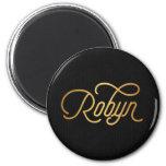 Negro elegante personalizado del oro de Robyn de Imán Redondo 5 Cm
