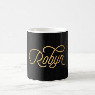 Negro elegante personalizado del oro de Robyn de Taza Básica Blanca