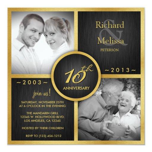 """Negro elegante y 10mo aniversario de boda del oro invitación 5.25"""" x 5.25"""""""