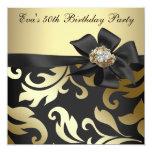 Negro elegante y 50.a fiesta de cumpleaños del oro anuncios