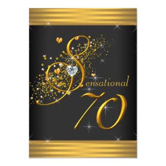 """Negro elegante y 70.a fiesta de cumpleaños del oro invitación 4.5"""" x 6.25"""""""