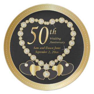 Negro elegante y aniversario de oro del oro 50.o plato de comida