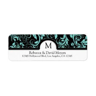 Negro elegante y azul del trullo con el monograma etiqueta de remite
