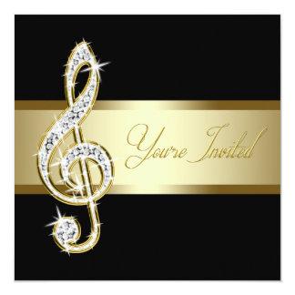 """Negro elegante y Clef agudo de la música del oro Invitación 5.25"""" X 5.25"""""""