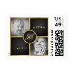 Negro elegante y cumpleaños del oro 50.o sellos