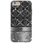 Negro elegante y damascos y cordón de la plata funda de iPhone 6 plus tough