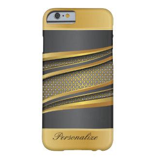 Negro elegante y diseño metálico de la malla del funda de iPhone 6 barely there
