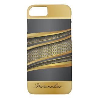 Negro elegante y diseño metálico de la malla del funda iPhone 7
