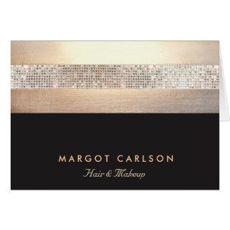 Negro elegante y elegante del oro de la lentejuela tarjeta pequeña