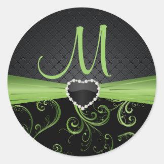 Negro elegante y estampado de flores verde del pegatina redonda