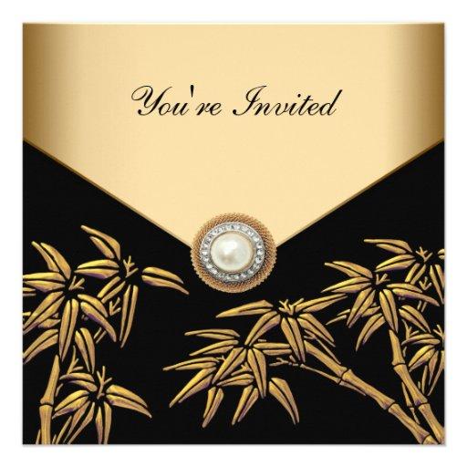 Negro elegante y fiesta de bambú del oro anuncio