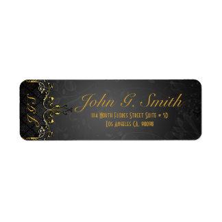 Negro elegante y marco floral del vintage del oro etiqueta de remitente