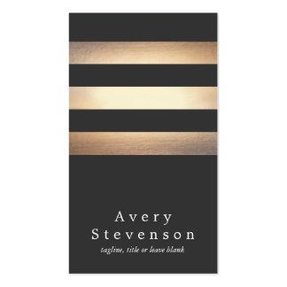Negro elegante y moderno fresco rayado del oro tarjetas de visita