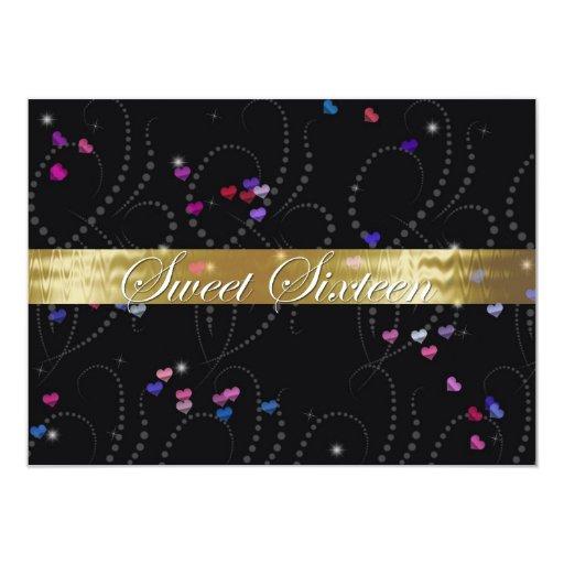 Negro elegante y oro de la invitación del dulce
