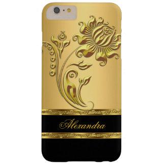 Negro elegante y oro en la flor del oro funda para iPhone 6 plus barely there