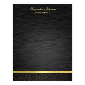 """Negro elegante y oro folleto 8.5"""" x 11"""""""