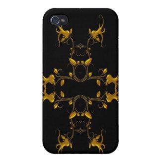 Negro elegante y oro iPhone 4/4S funda