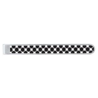 Negro en barra de lazo clásica de la estrella alfiler de corbata plateado