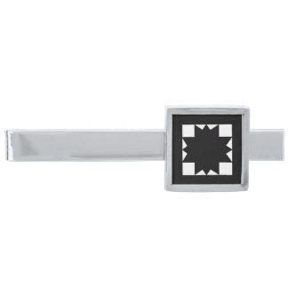 Negro en barra de lazo moderna del estilo de la alfiler de corbata plateado