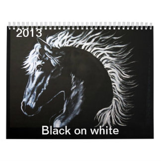 Negro en Callender blanco Calendarios