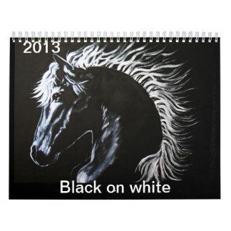 Negro en Callender blanco Calendario