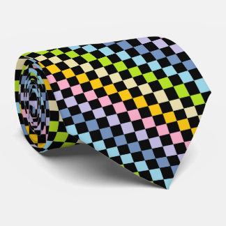 Negro en colores pastel a cuadros del arco iris corbatas personalizadas