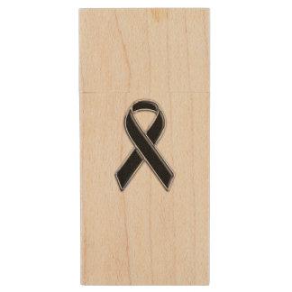Negro en diseño negro de la conciencia de la cinta pen drive de madera USB 2.0