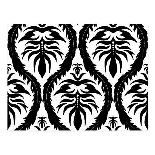 Negro en el damasco blanco floral postales