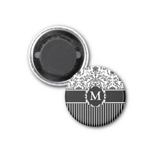 Negro en el damasco blanco imán redondo 3 cm