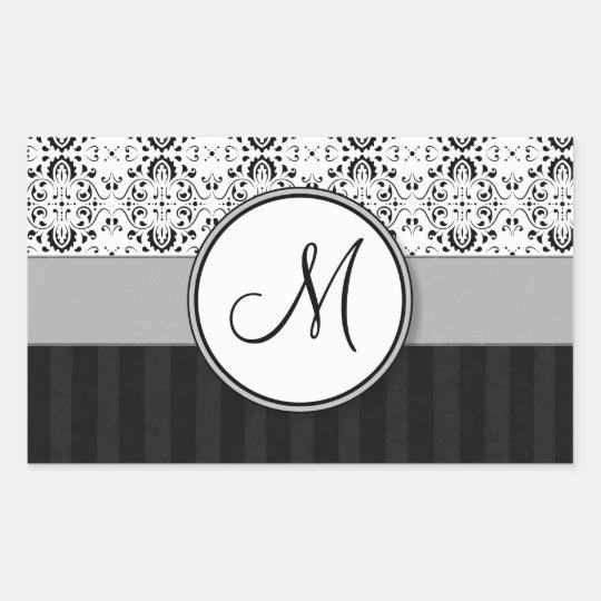 Negro en el damasco y las rayas blancos con el pegatina rectangular