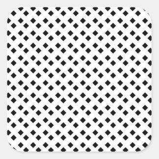 Negro en el diseño blanco del diamante pegatina cuadrada